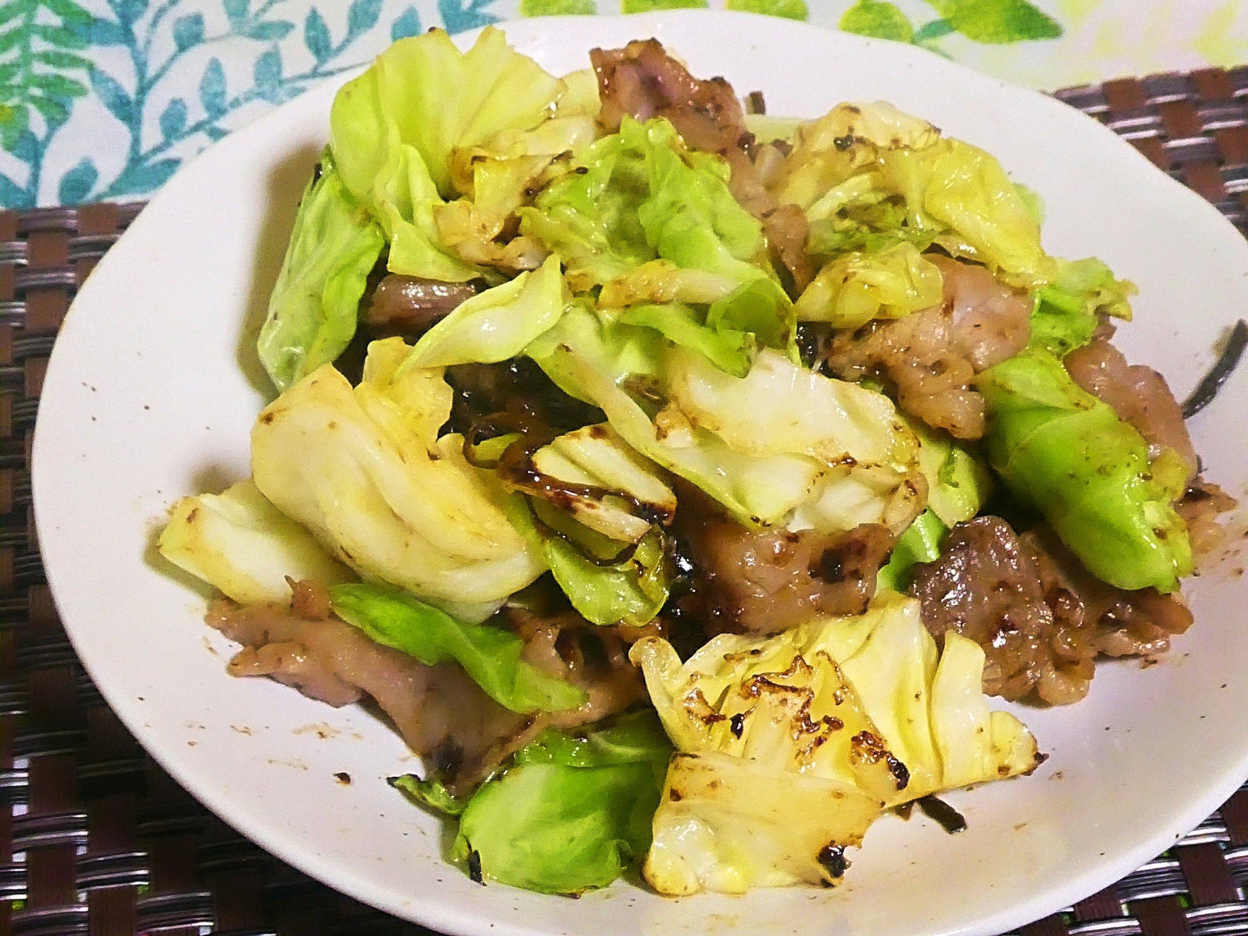 豚肉とキャベツの塩昆布炒め