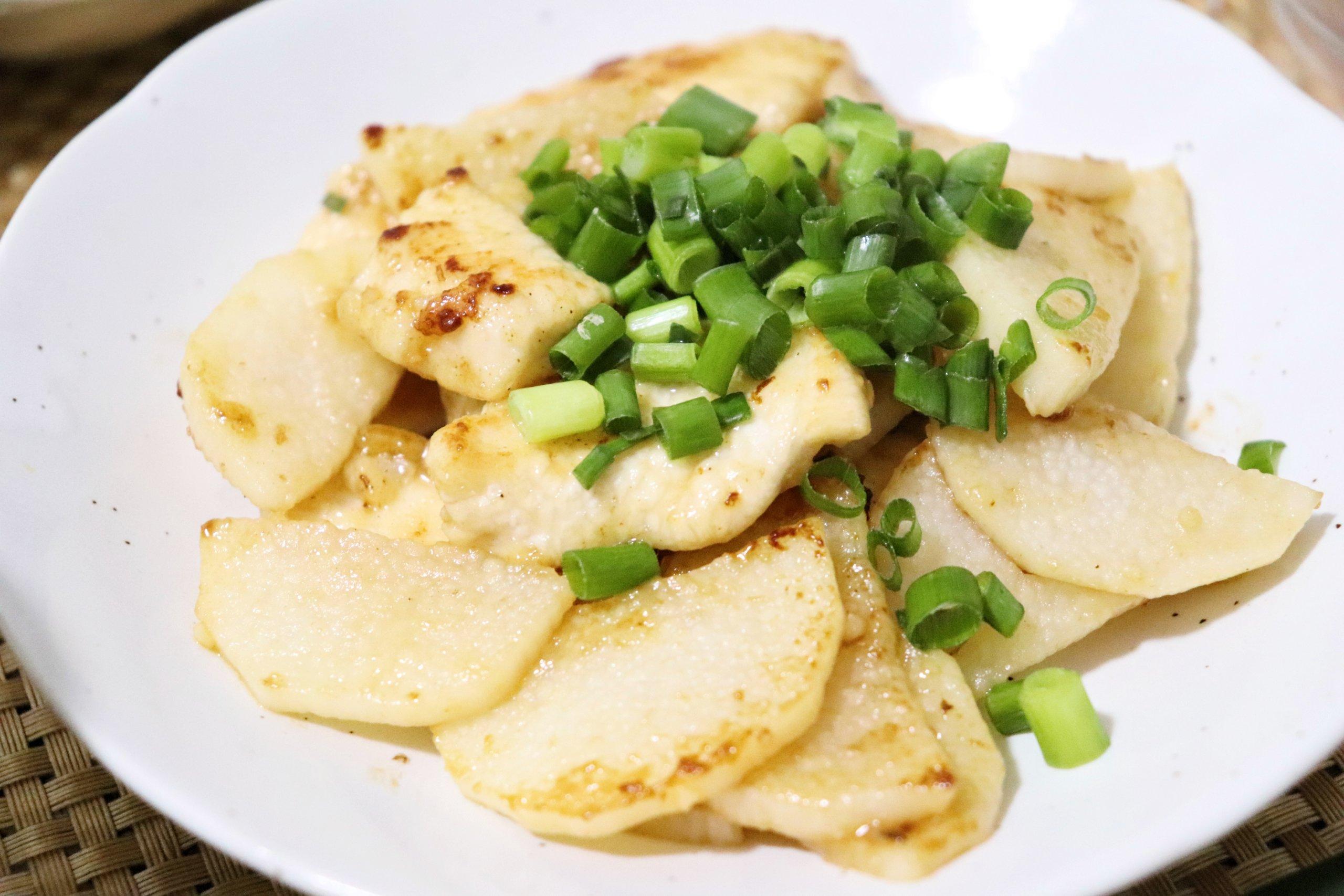 鶏胸肉と長芋のオイスター炒め
