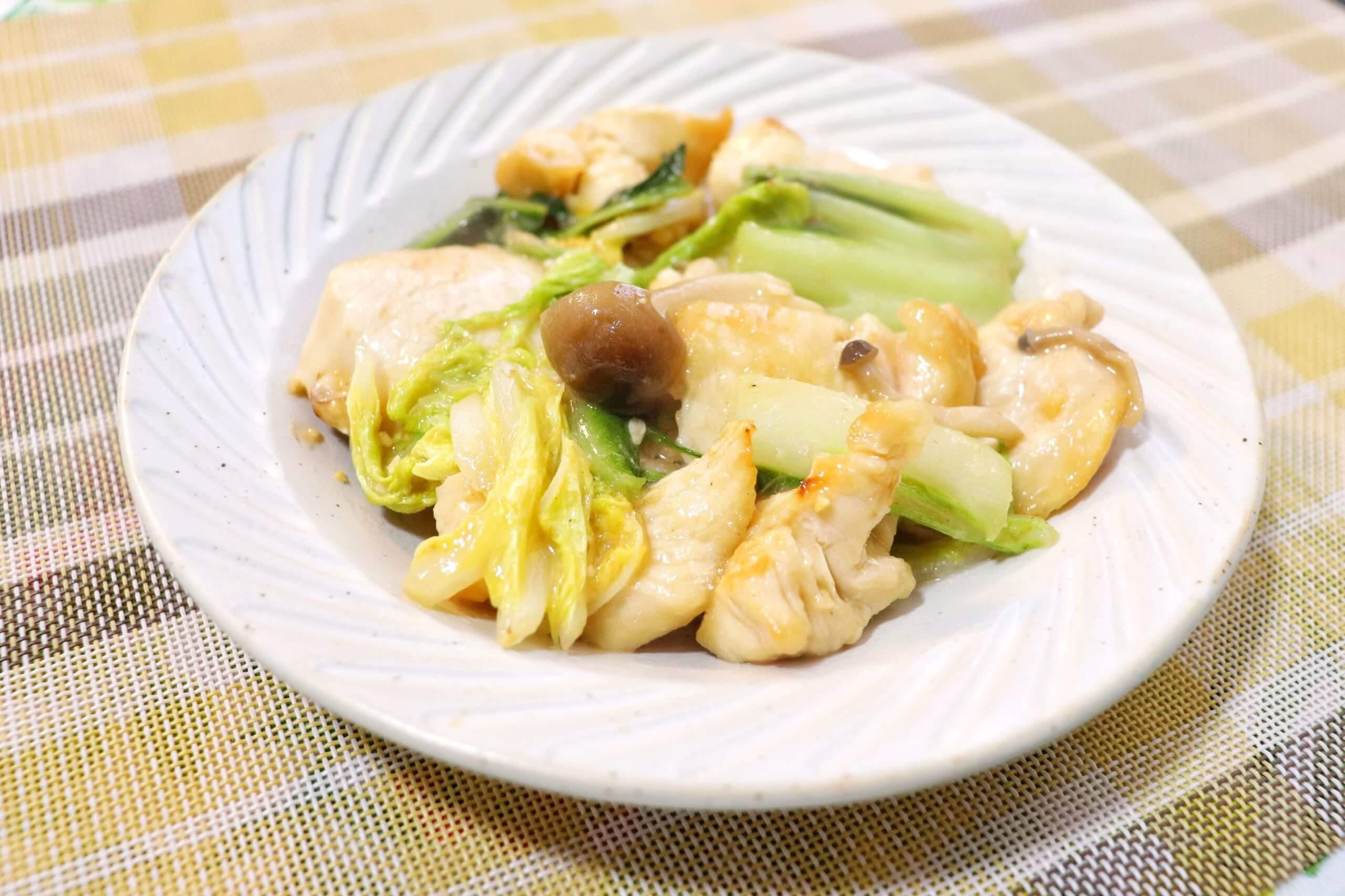 鶏胸肉と白菜の味噌炒め