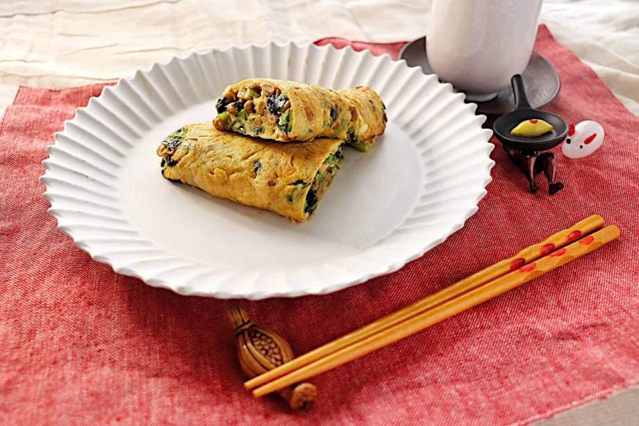 小松菜と納豆の和風オムレツ