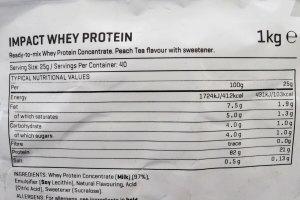 マイプロテイン ホエイプロテイン ピーチティー味 栄養成分表示