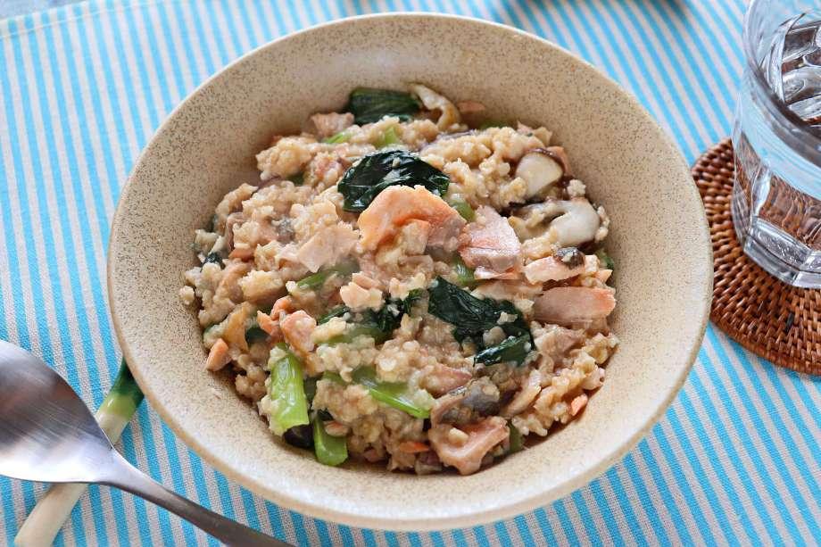 鮭と小松菜のオートミール雑炊