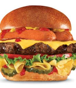 "This undated product image provided by CKE Restaurants shows Carl's Jr. and Hardee's new ""Most American Thickburger."" A beef patty topped with a split hot dog sits atop a layer of Lay's potato chips between hamburger buns, with ketchup, mustard, tomato, red onion, pickles and American cheese. The burger will have 1,030 calories and 64 grams of fat. (CKE Restaurants via AP)"