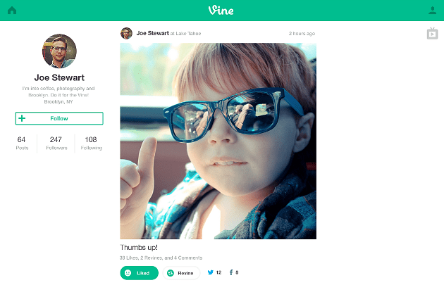Vine truly comes to the web, with full screen TV mode