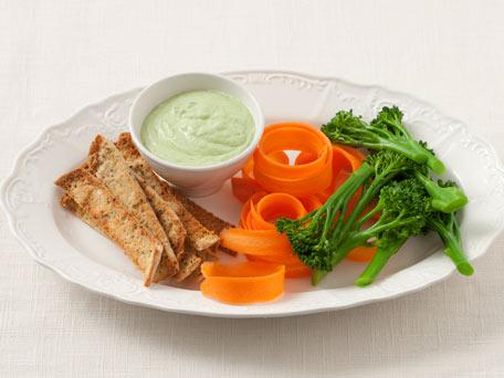 Cilantro Spice Yogurt Dip with Pita Strips and Vegetables