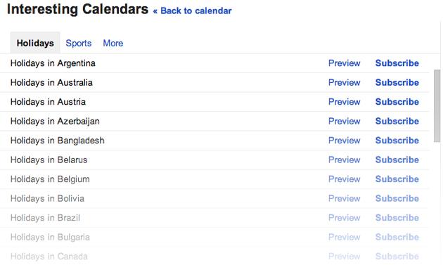 Google Calendar holidays