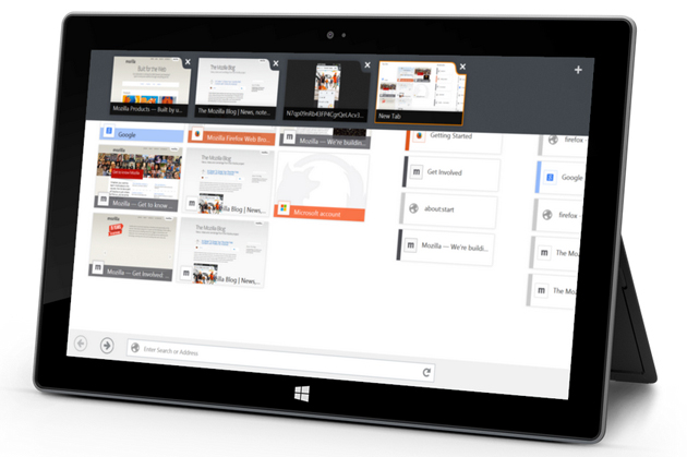 Firefox for Windows 8 on a tablet