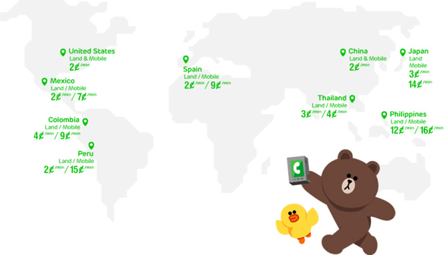 LINE Call's initial launch markets