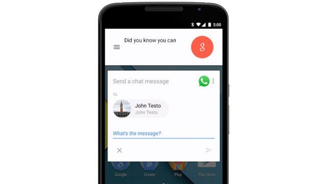Dictating a WhatsApp message in Google's search box