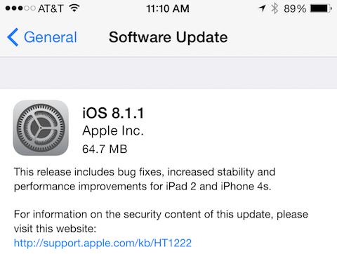iOS 8.1.1 installer
