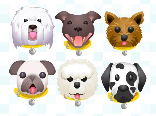 Some of the characters in the Dogs Trust emoji keyboard