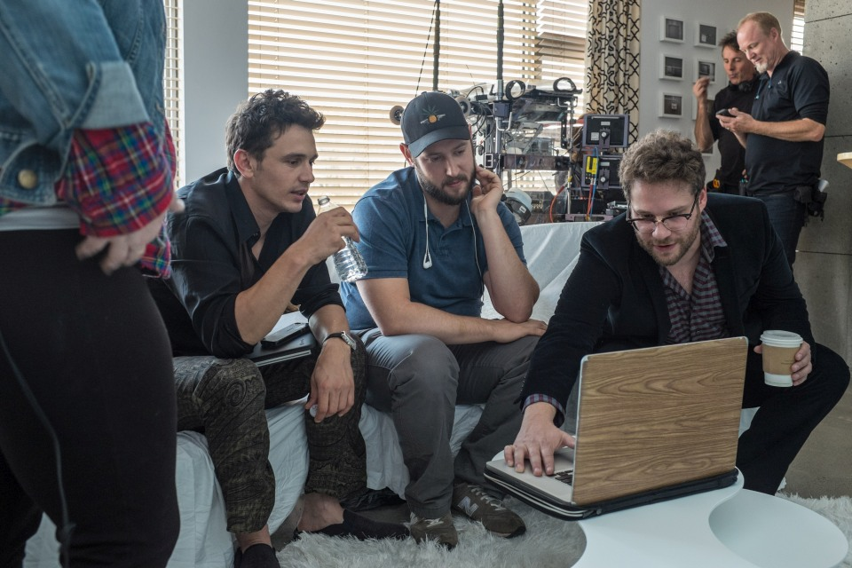 James Franco, Evan Goldberg and Seth Rogen on set of Columbia Pictures' THE INTERVIEW.
