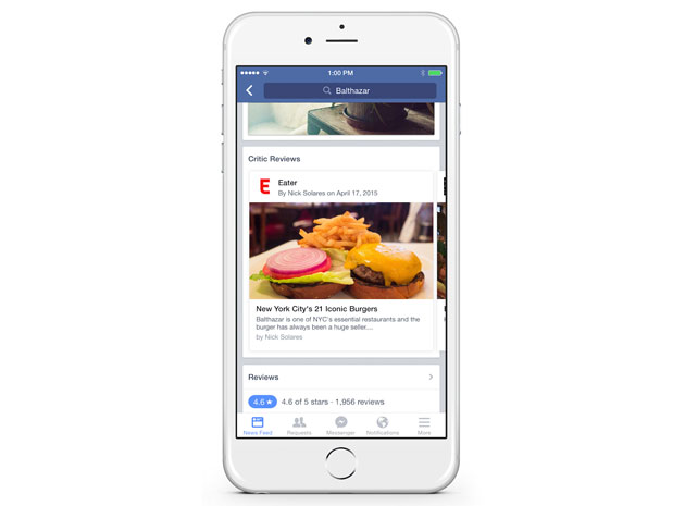 A restaurant review on Facebook for iPhone