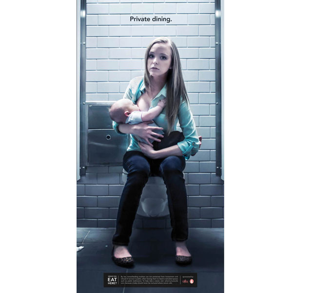Breastfeeding in public: New poster campaign shows babies fed in public toilets