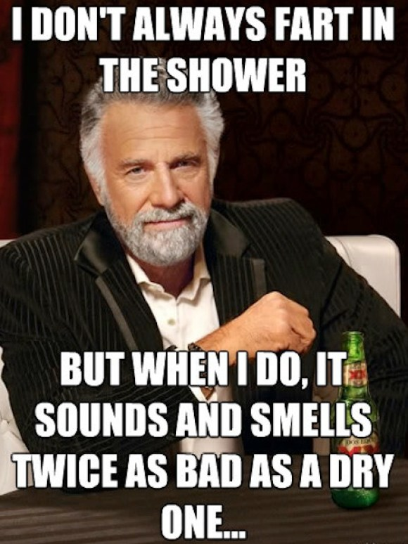things every man does in the shower, fart, fart in shower