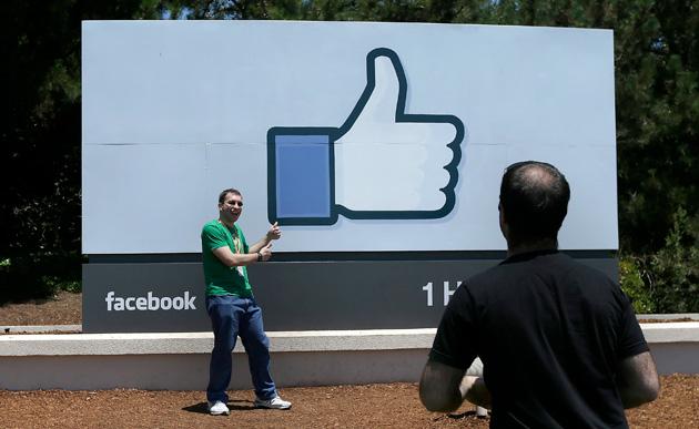 Facebook's company sign on 1 Hacker Way