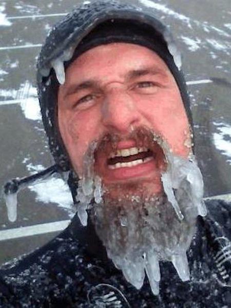 funny winter photos, funny snow photos, idiots in winter, snow beard man