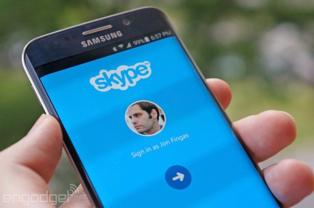 Signing back in to Skype for Android