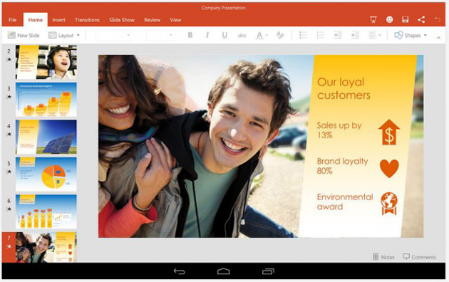 PowerPoint on an Android tablet
