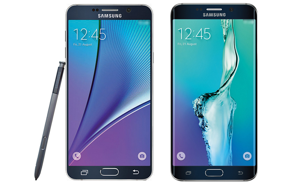 Samsung's Galaxy Note 5 (left) and Galaxy S6 Edge+ (right)