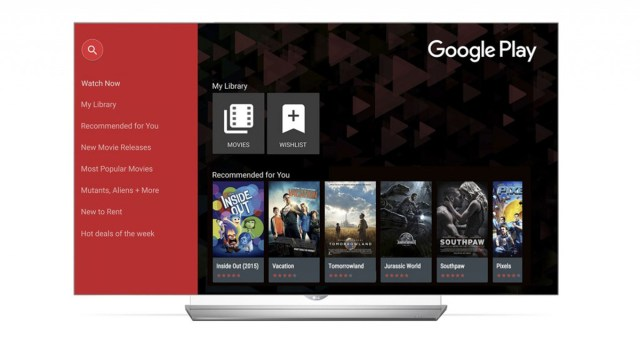An LG smart TV running Google Play Movies