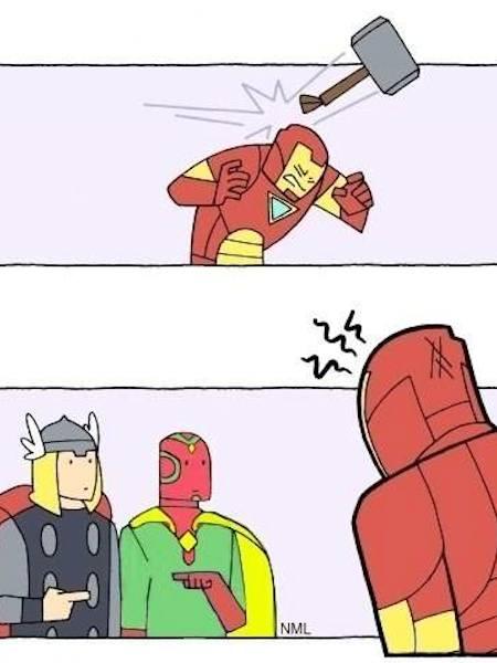 superheroes being aholes, thor vision v iron man