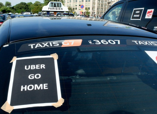 Taxis protest against Uber in Paris