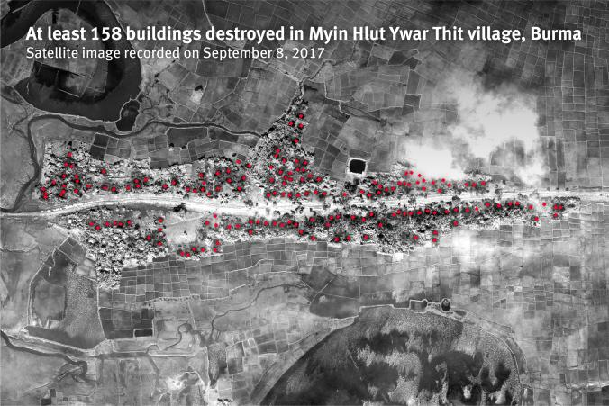 Human Rights Watch released new satellite imagery and sensory data showing that 62 villages in northern Rakhine State were targeted by arson attacks between August 25 and September 14, 2017. Human Rights Watch identified 35 of these villages with extensive building destruction from very high resolution satellite imagery, and an additional 26 villages that had active fires detected in near-real time with environmental satellite sensors. Human Rights Watch conducted a detailed building damage assessment in 6 of the 35 affected villages and identified nearly complete destruction in each case. The total number of destroyed buildings was 948.