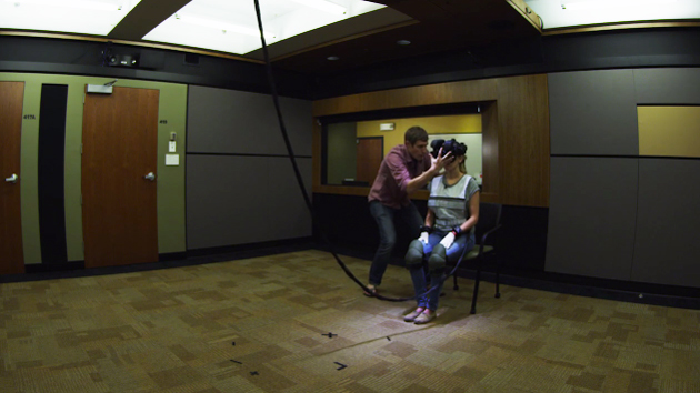 A woman tries Oculus Rift in Zero Point