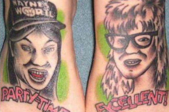 worst tattoos of celebrities, mike myers dana carvey waynes world