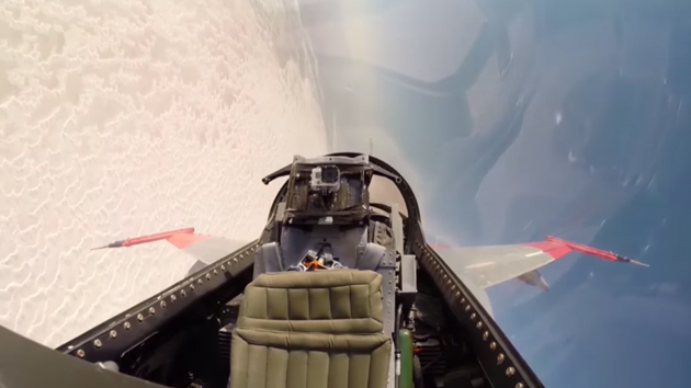 Remote-controlled QF-16 from the (unoccupied) cockpit