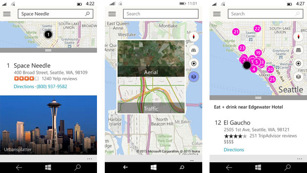 Maps on Windows 10 for phones