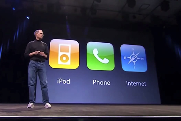 Steve Jobs at the Apple iPhone keynote, 2007