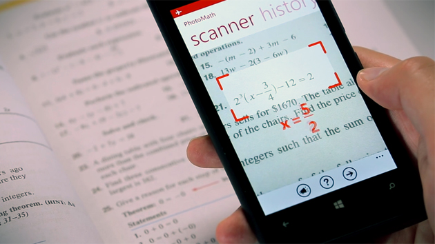 PhotoMath on a Windows Phone