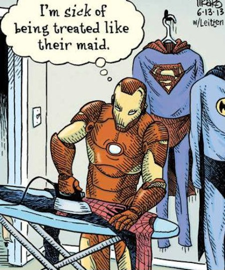 superheroes being super a-holes, superheroes being jerks funny, iron man irons costumes