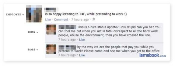 people fired on facebook, funny facebook boss