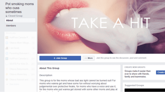 """The Facebook community """"Pot smoking moms who cuss sometimes"""" has over 2,600 members."""