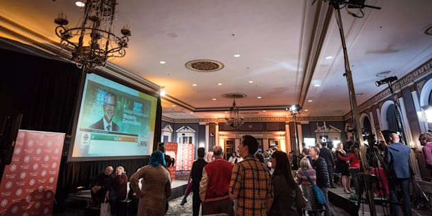 NDP supporters watch as results come in from the Saskatchewan election at the NDP headquarters in Saskatoon on April 4, 2016. The party is investigating an allegation that a former candidate sexually assaulted a young member.