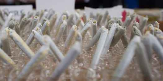 Joints are displayed for sale during the annual 4/20 cannabis culture celebration at Sunset Beach in Vancouver on April 20, 2017.