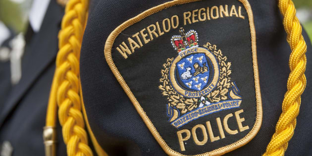 Waterloo Regional Police (WRP) badge worn by officer during a police memorial parade in Ottawa, Sept. 26, 2010. The WRP chased a car that crashed into truck killing the teens inside on Thursday.