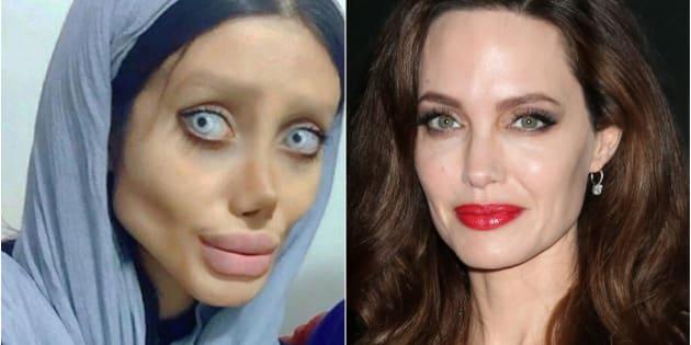 Sahar Tabar, a la izquierda, y Angelina Jolie, a la derecha.