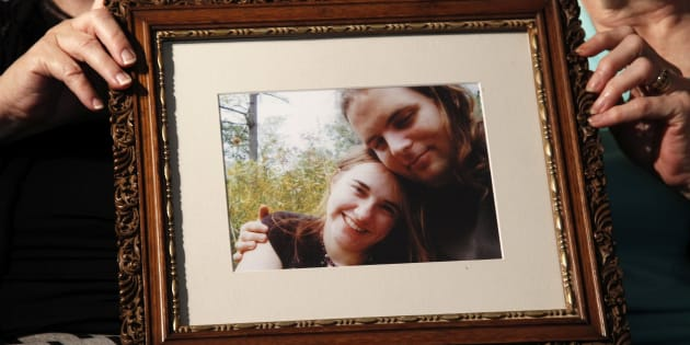 In this June 4, 2014, file photo, mother's Linda Boyle, left and Lyn Coleman hold photo of their married children, Canadian citizen Joshua Boyle and American citizen Caitlan Coleman, who were kidnapped by the Taliban in late 2012, in Stewartstown, Pa.