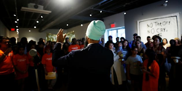 New Democratic Party leader Jagmeet Singh speaks a meet and greet event in Hamilton, Ont. on July 17, 2017.