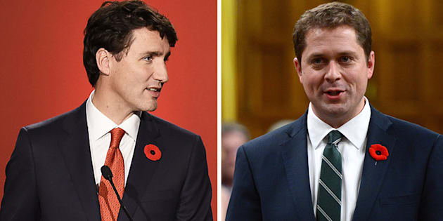 Conservative Leader Andrew Scheer, right, says Prime Minister Justin Trudeau's support for a recent speech by the governor general has offended millions of Canadians.