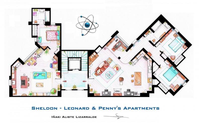 Big Bang Theory apartments floor plans