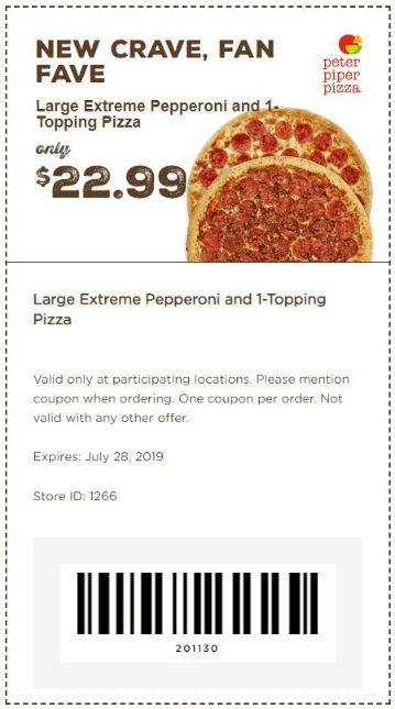 photograph relating to Peter Piper Pizza Printable Coupons named 67 Coupon codes For 2019 Obtain Right here $10 Off