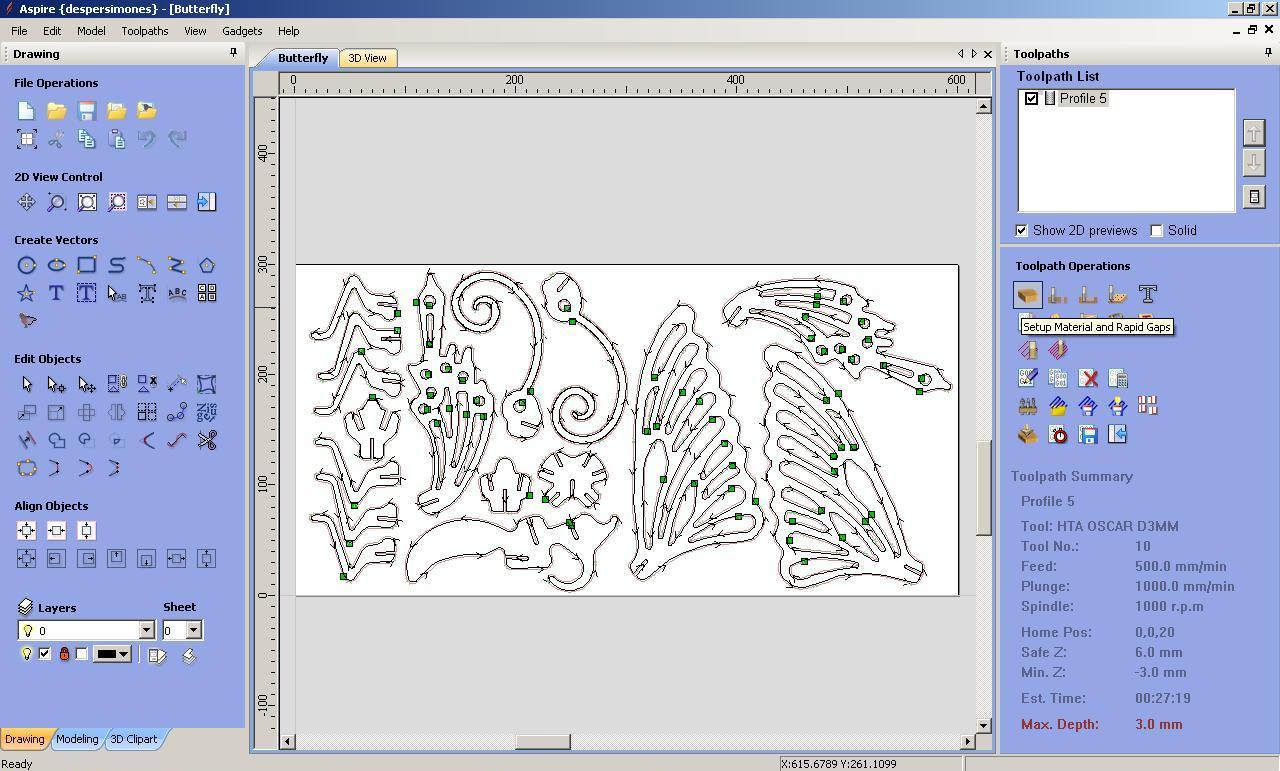 Mecanizado 2D con Vectric Aspire: Mariposa