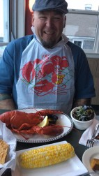 Paul like a big little boy eating his mussels and lobster!
