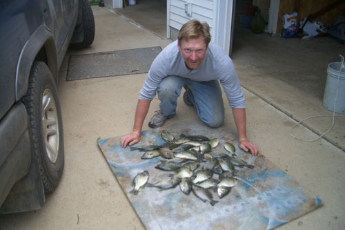 Crappie and bluegill fishing the face of the spillway