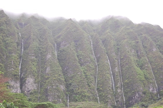 View of the misty Koʻolau Mountains